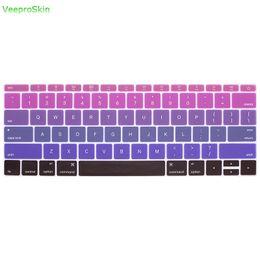"""Para Mac 12 A1534 Para Macbook New Pro 13 """"A1708 (Versión 2016 sin barra táctil) y cubierta de teclado Ombre Rainbow de piel de silicona desde fabricantes"""