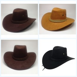 cappelli di camoscio donne Sconti West Cowboy Cap Outdoors Parasole Cappelli Big Eaves Suede Riding Uomini e donne Colori Mix Fashion Bardian 7 3yyf1