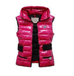 Barato vermelho casacos mulheres on-line-2019 Moda Novo Inverno Para Baixo Colete para As Mulheres Casaco Fino Design Coletes Feminino Marca Jaqueta Sem Mangas Mulher Preto Roxo Vermelho marrom venda Barato