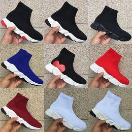 2019 scarpe di design a buon mercato Cheap Paris Speed Trainer Stretch Knit Mid Scarpe casual Uomo Donna Triple Nero Bianco Oreo scarpe di design di lusso di lusso des chaussures scarpe di design a buon mercato economici