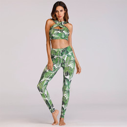 056e3d401120c Women Yoga Set Front Cross Padded Sport Bra Crop Top Sweatshirt+pants  Running Jogging Fitness Gym Workout Outfit Set Sweatsuits  180608