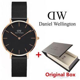 Tendências das mulheres on-line-Nova tendência Meninas tira de Aço Daniel Wellington relógios 32mm mulheres relógios de Quartzo Relógio DW Relógio Relogio feminino Montre Femme