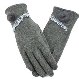 2019 guantes de encaje blanco dedos largos DEER Story Guantes de mujer Sexy para montar en invierno Damas gruesas de felpa Muñeca mitones Pantalla táctil Lady Warm Lace Ball Ball Gloves