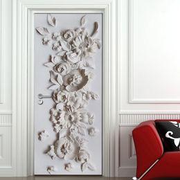 2019 carta da parati rosa nera del fiore Murale in rilievo Fiore Camera da letto soggiorno porta decorazione adesivo 3D carta da parati in PVC autoadesivo adesivo murale murale