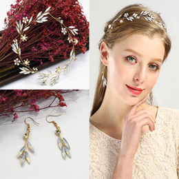 2019 cintas para la cabeza de compromiso Conjuntos de pendientes de diadema nupcial Opal Pearl Hair Vine Vine Crown Coronas Tiaras Engagement Head Chain Jewelry Wedding Hair Accessories rebajas cintas para la cabeza de compromiso