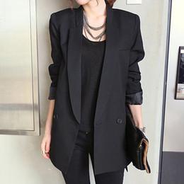 colarinho preto senhoras blazers Desconto 2019 Sólido Jacket Longo Preto Estilo Mulheres e Blazer Feminino entalhado Collar assimétrica Chic Ladies Blazers feminino