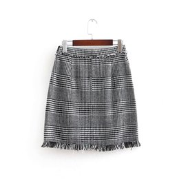 270c60245b vintage plaid mini skirt Promo Codes - 2018 Women Vintage tweed plaid a line  Skirt faldas