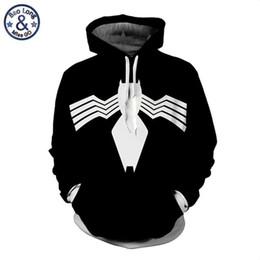 Abiti cosplay maschili online-Mens Marvel Movie Superhero Avengers 3 Infinite War Venom Hooded Pullover Maschio 3D Felpe Felpe con cappuccio Cosplay Super Hero Outfit