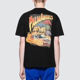 Argentina 2019 Palm Angels T-shirt Hombres Racing Sello Impreso Manga corta Blanco Negro Camisas Cool Hip Hop Skateboard Tops CLI0440 cheap racing cool shirt Suministro