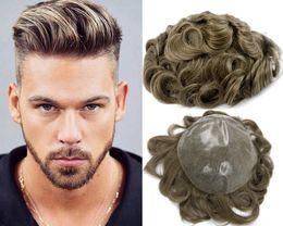 Trasporto libero Misto colore marrone Misto Toupee per capelli d'assottigliamento uomo pizzo uomini parrucca pezzi brasiliani capelli umani sostituzione da