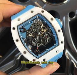 Relógio japão miyota on-line-Alta versão RM055 Skeleton Dial Nano-cerâmica Composites Caso Japão Miyota Automatic RM 055 Mens Watch Azul Rubber Strap Sports Relógios