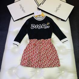 Trajes de faldas coreanas online-Trajes de dos piezas 2019 Traje Falda de niñas coreanas Niños Niña Ropa deportiva Twinset Bebé Ropa de niños Conjunto Ropa de manga wanziqianhong1