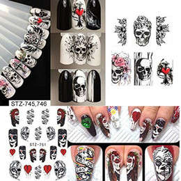 Unhas pretas crânios on-line-Prego Natal O Dia das Bruxas Define partido do evento preto crânio do osso Aranha Flor Nail Art Decal