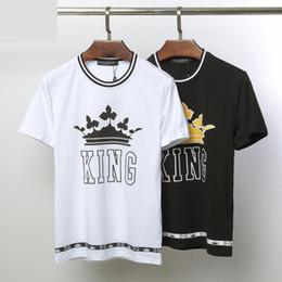 Ti t shirt онлайн-TI роскошные летние футболки модный тренд новый King дизайнер футболка мужская высокого качества модный бренд мужской мужской и женский с коротким рукавом