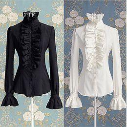 викторианские блузки Скидка Викторианские Женщины Офис Леди Рубашка Высокая Шея Оборками Рябить Манжеты Рубашка Блузка