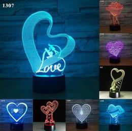Nouveauté de lumières de coeur en Ligne-3D LED USB Touch Night Light 31 Styles 7 Couleur Love You Heart Lampe de bureau de Saint Valentin LED nouveauté Articles 60pcs