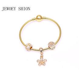 einfache goldblumenanhänger Rabatt 2019 neue populäre Simple Gold Damen Based Armband Art und Weise DIY Strass Perlen und Blumen-Anhänger-Armband-Pan-Charme
