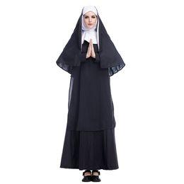 Costume di Halloween Abiti per adulti Christian Nun Cosplay Vestito nero Cape Set Party Vintage Role Play Clothing da