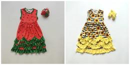 2019 платье из желтой шелковой девочки летние девочки детская одежда желтый подсолнух цветочные арбуз молоко шелковые оборки детские бутики оборки макси платье матч лук дешево платье из желтой шелковой девочки