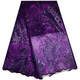 GJ939 2018 Tela de encaje de organza con perlas de lentejuelas con purpurina lila con purpurina lilacilla amarilla lila con perlas desde fabricantes