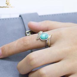 brautverlobungsring Rabatt Retro Silber Feder Türkis Ring Europa und Amerika Mode Verlobungsringe für Frauen Hochzeit Brautschmuck Geschenk Großhandel