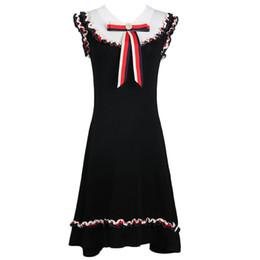 2019 été nouveau bandeau femmes contraste couleur rayé oreille en bois couture arc longue robe en tricot ? partir de fabricateur