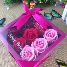 rose blume seife handgefertigt Rabatt Rose Flower Soap Badeseife Hochzeit Rosenblätter mit Geschenkbox Muttertag Valentinstag romantisches Geschenk handgefertigt