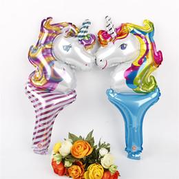 детские игрушки Единорог день рождения украшения дети фольга палка маленькие воздушные шары праздничные принадлежности свадьба Baby Shower украшения JY221 от Поставщики различные виды