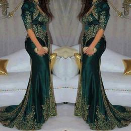 Индийская сексуальная вечеринка онлайн-Урожай 2020 Темно-зеленый Вечерние платья Вышивка бисером блесток Индийский стиль Половина рукава платья выпускного вечера высокого шеи Русалка платье партии