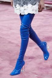 2019 botas de rodilla de látex 2018 Nueva moda Primavera Otoño Piel de becerro Patente Tacón transparente Mujer Botas Claro Perspex Block Tacón sobre la rodilla Latex Muslo Botas altas rebajas botas de rodilla de látex