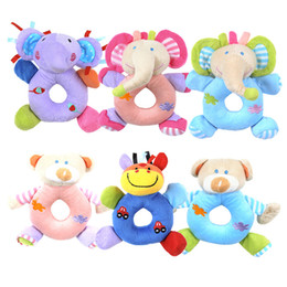 soft animal baby rattles Coupons - 16*13cm Cute Newborn Animal Baby Rattle Stroller Plush Toy Elephant bear Animal Hand Bell Doll Soft Plush Toys Gift C2