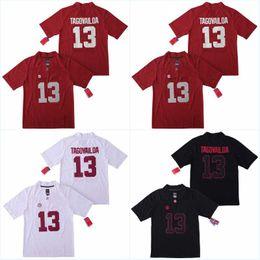 pullover uniforme di gioco del calcio poco costoso Sconti Uomini NCAA Nuova Alabama Crimson Tide # 13 Tua Tagovailoa della squadra dell'istituto universitario del pullover camice Uniformi economico Ricamo cucito