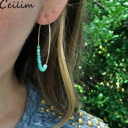 kupfer schmuck ohrringe Rabatt European American Kupfer Material Bead Hoop Ohrringe Frauen übertrieben große handgemachte Naturstein Perlen gewickelt Kreis Ohrringe Schmuck