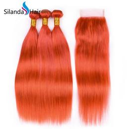 2019 feixes tecer vermelhos quentes Silanda cabelo venda quente orange red straight remy brasileiro cabelo humano tece 3 pacotes de trama com 4x4 lace closure frete grátis feixes tecer vermelhos quentes barato