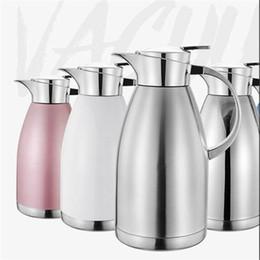 vaso d'acqua in acciaio inossidabile Sconti Vaso dell'isolamento Caraffa termica del caffè dell'acciaio inossidabile Carro armato di acqua calda della grande capacità capienza 2,3L Walled Thermos Coffee Tea Pot