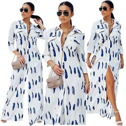 d083890d735 2019 lange weiße hemden kleid frau frauen kleid herbst winter hemd kleid  mode gedruckt anzug kleider