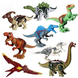 Bloco jurássico on-line-8 pçs / lote Jurrassic mundo Legoingly jurássico dinossauro conjunto de figuras para crianças Animal Building Blocks define brinquedos para crianças