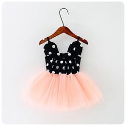 Wholesale Abito per ragazze Dot Abiti neri rossi Gonne in pizzo a rete Gonna per feste Baby Tutu Dress Little Girls
