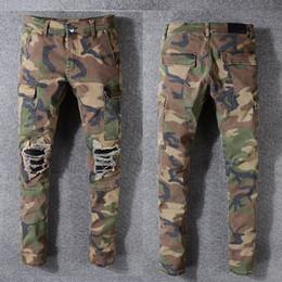 Ropa de impresión del ejército online-Pantalones Vaqueros de marca Pantalones de diseñador Pantalones Off Road Panther Imprimir Ejército Verde Soldado Mens Slim Denim Straight Biker Skinny Jeans Hombres