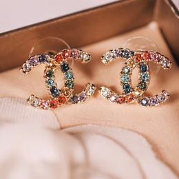 2019 vero ottone Ottimi orecchini in ottone di alta qualità con diamanti colorati e logo gioielli in oro placcato oro 18k regalo PS5661 vero ottone economici