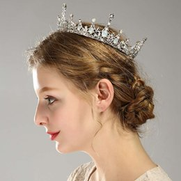 бриллиантовая корона диадемы невесты Скидка Горячая новая невеста тиара ретро полный круг Алмаз большой корона свадебные аксессуары невесты корона оголовье аксессуары для волос