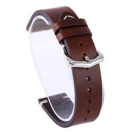Кожаные ремни для часов 18мм онлайн-Wax Oil Skin Watch Straps Vintage Genuine Leather Watchband Calfskin Watch Straps 18mm 20mm 22mm