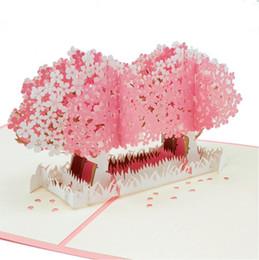 kirschblütenhochzeitsgeschenke Rabatt 3D Pop UP Karte Kirschblüte Laser geschnittene Hochzeitseinladungen Karten Valentinstag Grußkarte Gruß Postkarte Geschenke Paris