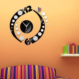 2019 adesivos adesivos espelho Diy espelho auto-adesivo sliver relógio de parede estudo quarto sala de estar fundo adesivo de parede relógio de quartzo silencioso desconto adesivos adesivos espelho