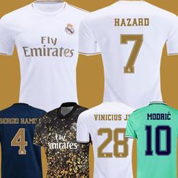Kit reali online-2019 20 Real Madrid Soccer Jersey HAZARD home away maglia da calcio per adulti ASENSIO ISCO MARCELO madrid 19 20 kit per bambini divise da calcio