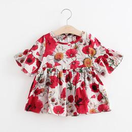 Vestido de princesa de 12 meses online-Super Deal Summer Cotton Petals Baby Dress Ruffles Manga corta Cute Princess Baby Baby Infant Dress Girls Dress 12-18 meses