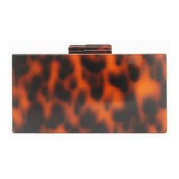 Scatole quadrate acriliche online-Pochette Leopard Fashion Borsa Ambra Box Borsa da sera in acrilico Borsa a tracolla piccola borsa a tracolla donna con tracolla a catena quadrata Bolsas