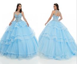 top bleu 15 robes Promotion 2020 Light Blue Crystal Top Quinceanera Robes de Sheer Bretelles Bling Tulle pailleté Keyhole Retour Corset douce 16 Robe Vestidos 15 Anos