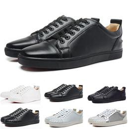 Robes décontractées pour fête en Ligne-2019 Designer Fashion Spike Low Cut Party Chaussures Habillées Pour Hommes Luxe Party Womens Chaussures De Mariage En Cuir Véritable Casual Chaussures Sneakers 36-45