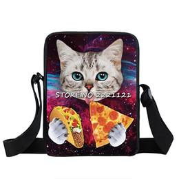 Gatinho bonito Mini Messenger Bag Gato Comendo Tacos Pizza Crossbody Bag Mulheres Bolsas Crianças Sacos de Ombro Crianças Mochilas Escolares de Fornecedores de pizza crianças